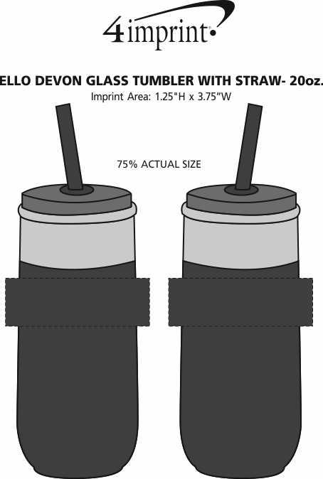Imprint Area of Ello Devon Glass Tumbler with Straw - 20 oz.
