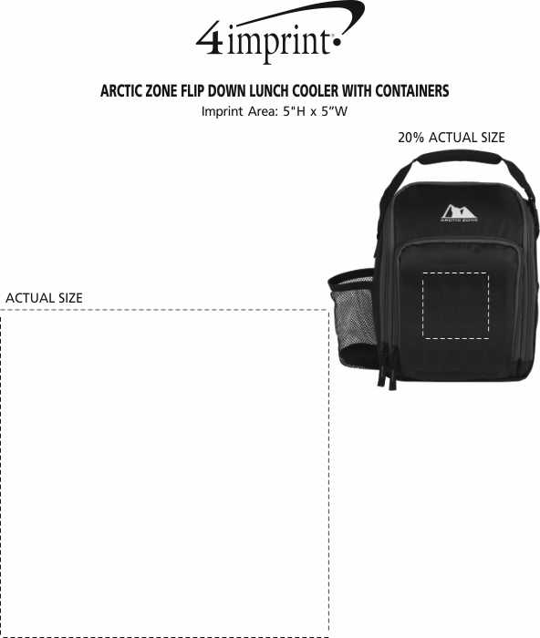 Imprint Area of Arctic Zone Flip Down Lunch Cooler with Containers