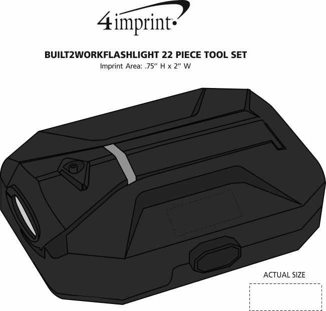 Imprint Area of Built2Work Flashlight 22 Piece Tool Set