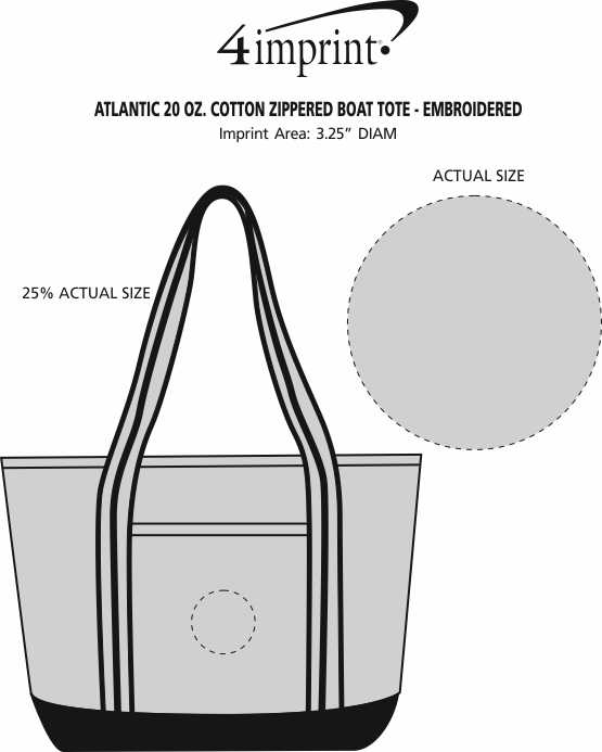 Imprint Area of Atlantic 20 oz. Cotton Zippered Boat Tote - Embroidered