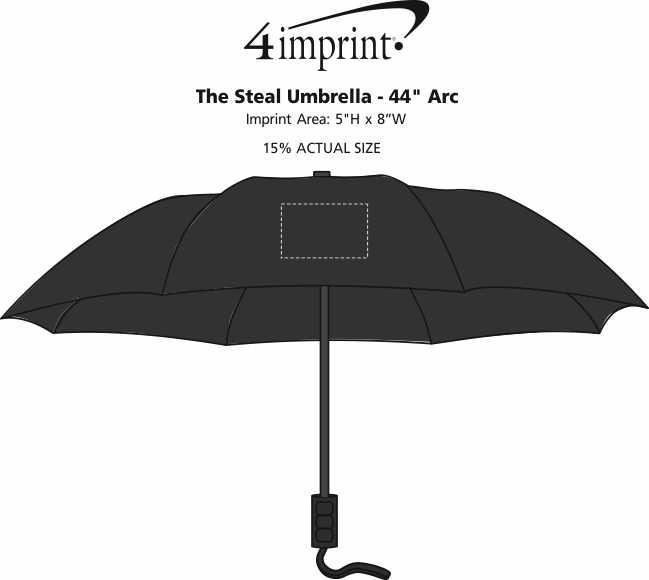"Imprint Area of The Steal Umbrella - 44"" Arc"
