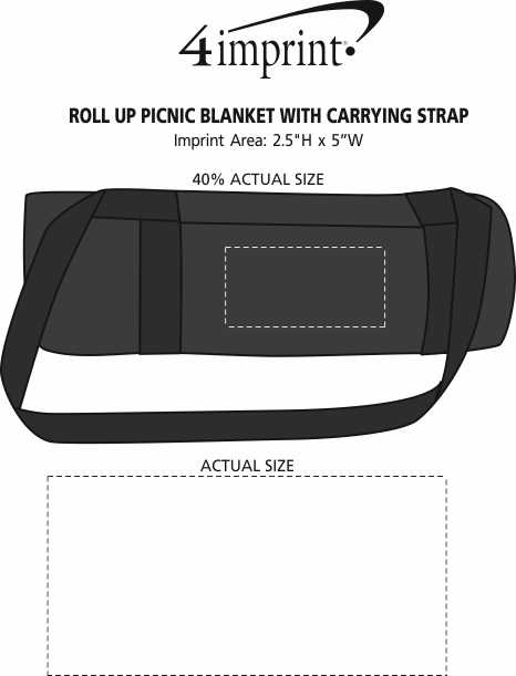 Imprint Area of Roll Up Picnic Blanket with Carrying Strap