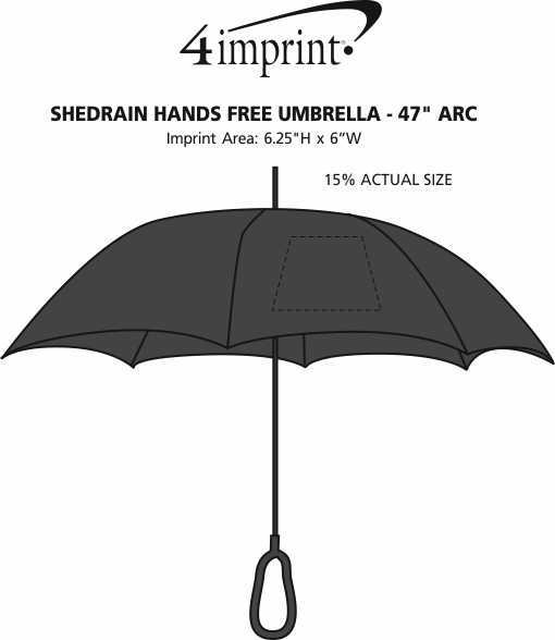 "Imprint Area of ShedRain Hands Free Umbrella - 47"" Arc"