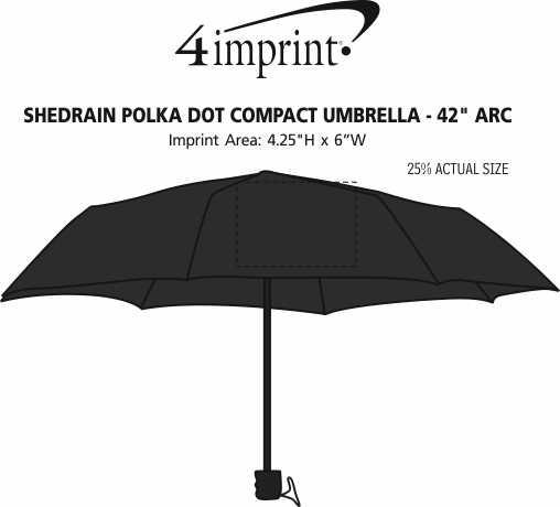 """Imprint Area of ShedRain Polka Dot Compact Umbrella - 42"""" Arc"""