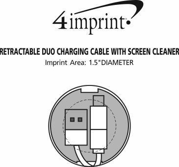 Imprint Area of Retractable Duo Charging Cable with Screen Cleaner