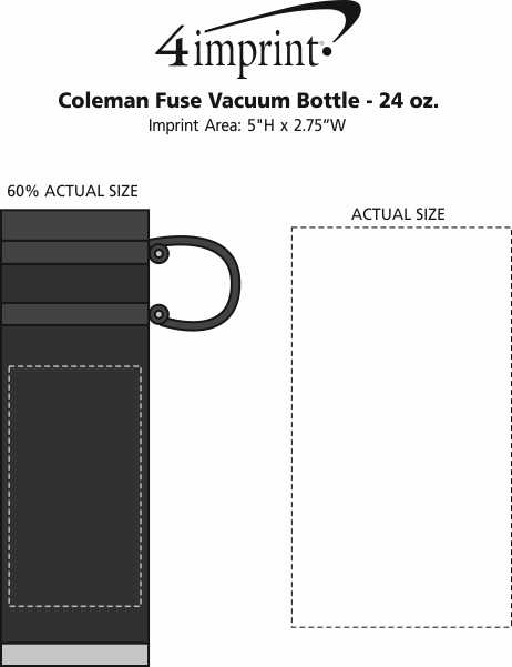 Imprint Area of Coleman Fuse Vacuum Bottle - 24 oz.