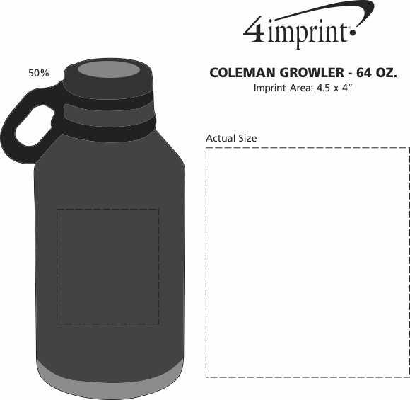 Imprint Area of Coleman Growler - 64 oz.
