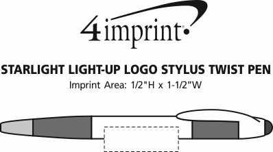 Imprint Area of Starlight Light-Up Logo Stylus Twist Pen