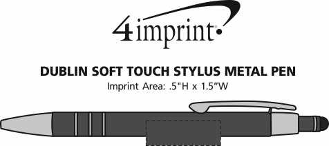 Imprint Area of Dublin Soft Touch Stylus Metal Pen