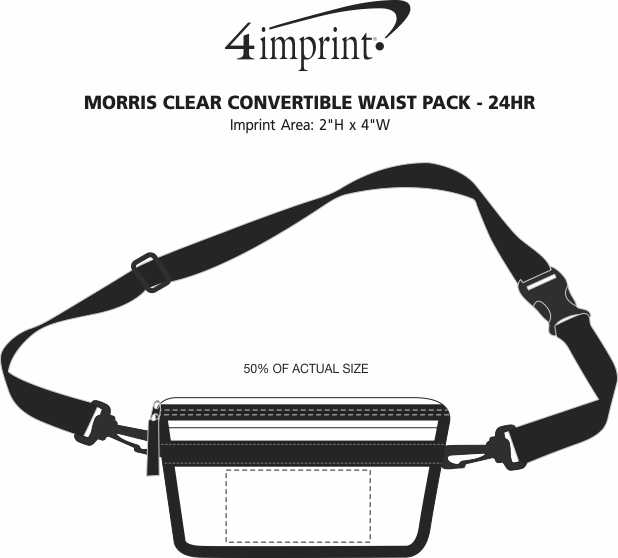 Imprint Area of Morris Clear Convertible Waist Pack - 24 hr