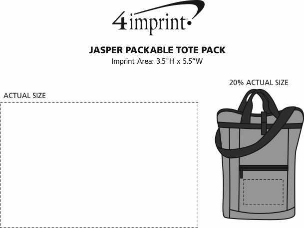 Imprint Area of Jasper Packable Tote Pack