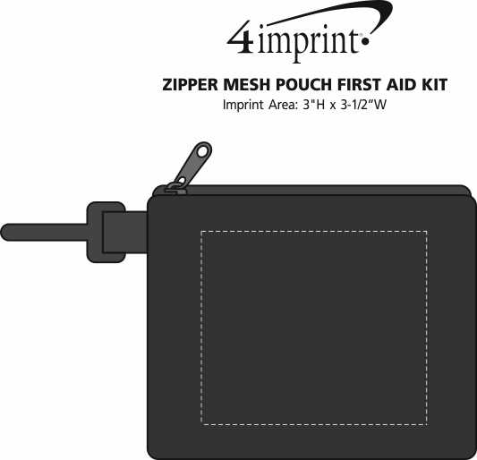 Imprint Area of Zipper Mesh Pouch First Aid Kit