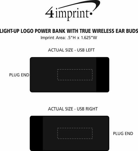 Imprint Area of Light-Up Logo Power Bank with True Wireless Ear Buds