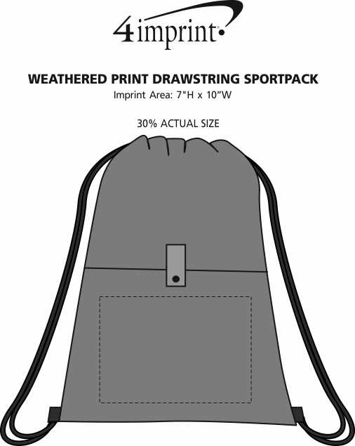 Imprint Area of Weathered Print Drawstring Sportpack