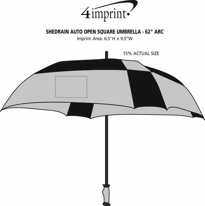 """Imprint Area of ShedRain Auto Open Square Umbrella - 62"""" Arc"""
