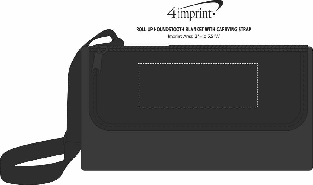 Imprint Area of Roll Up Houndstooth Blanket with Carrying Strap
