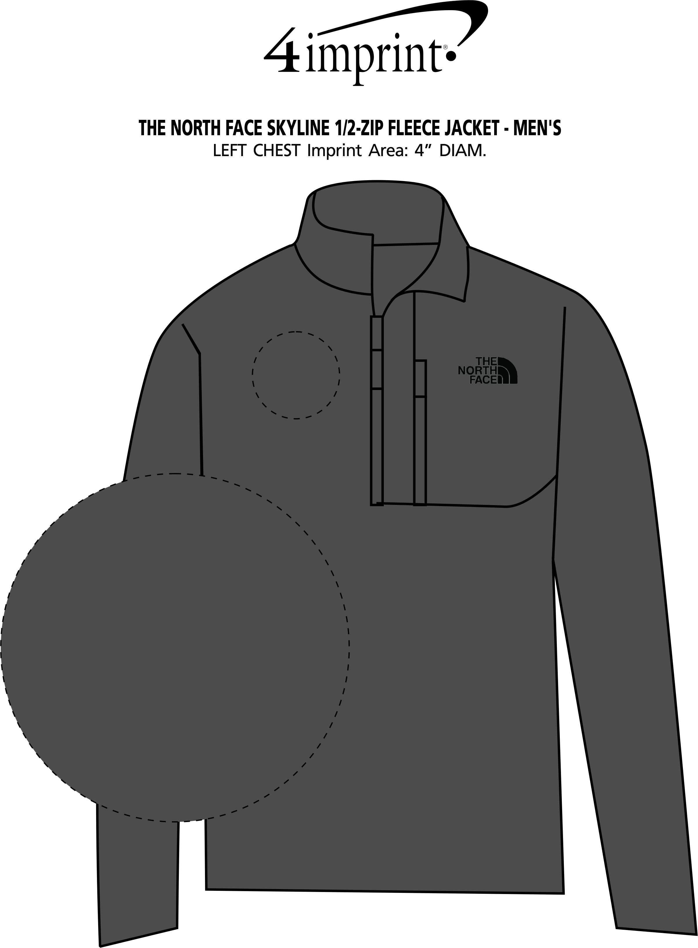 Imprint Area of The North Face Skyline 1/2-Zip Fleece Jacket - Men's
