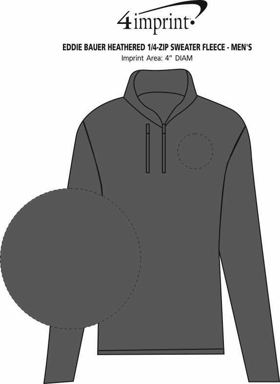 Imprint Area of Eddie Bauer Heathered 1/4-Zip Sweater Fleece - Men's