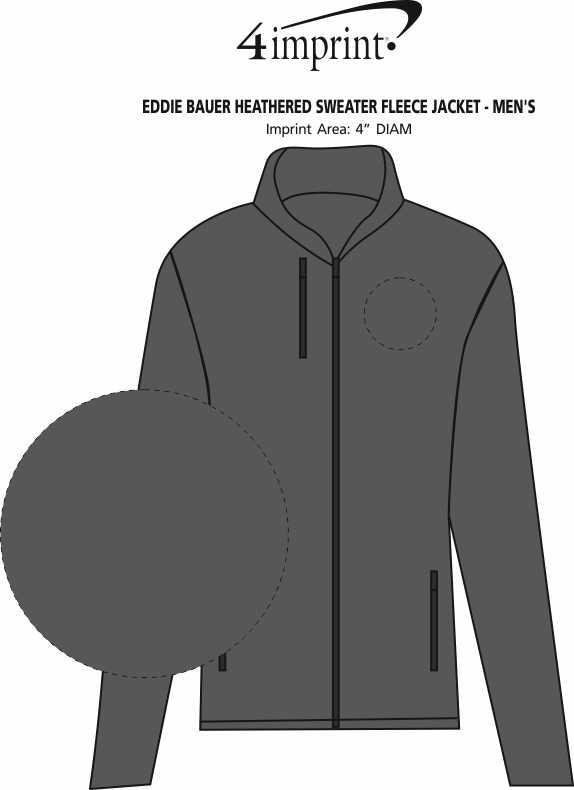 Imprint Area of Eddie Bauer Heathered Sweater Fleece Jacket - Men's