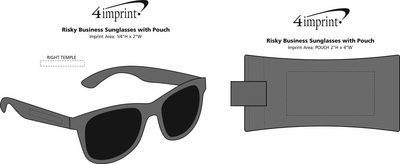 Imprint Area of Risky Business Sunglasses with Pouch