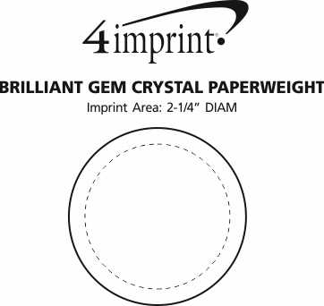 Imprint Area of Brilliant Gem Crystal Paperweight