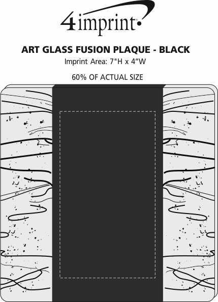 Imprint Area of Art Glass Fusion Plaque - Black