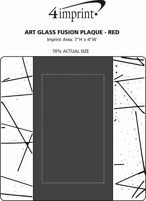 Imprint Area of Art Glass Fusion Plaque - Red