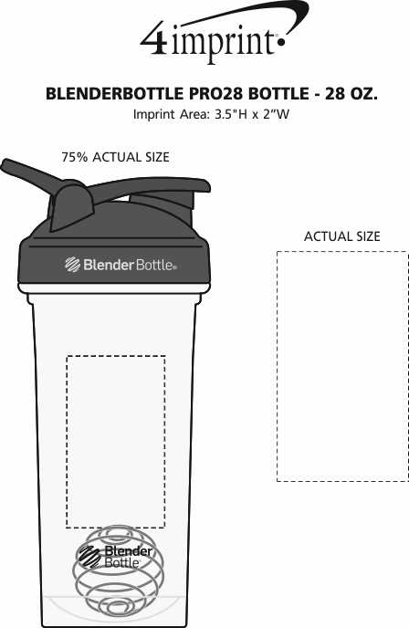 Imprint Area of BlenderBottle Pro28 Bottle - 28 oz.