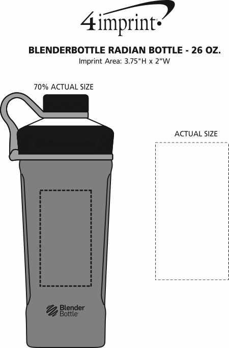 Imprint Area of BlenderBottle Radian Bottle - 26 oz.