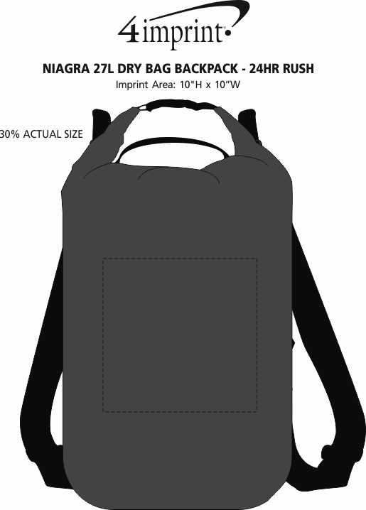 Imprint Area of Niagra 27L Dry Bag Backpack - 24  hr
