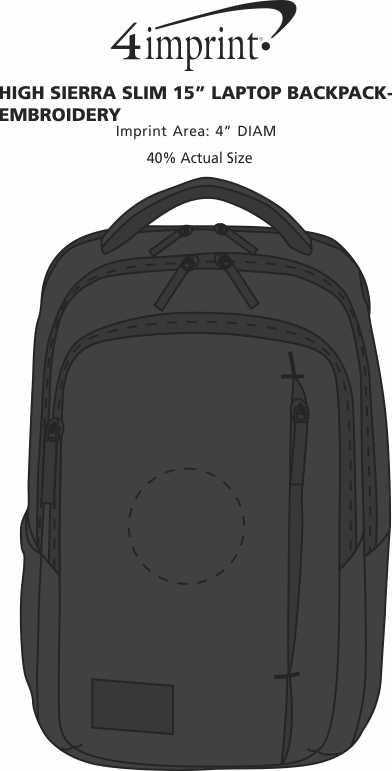 """Imprint Area of High Sierra Slim 15"""" Laptop Backpack - Embroidered"""