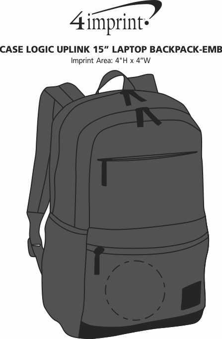 """Imprint Area of Case Logic Uplink 15"""" Laptop Backpack - Embroidered"""