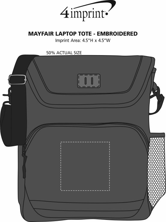 Imprint Area of Mayfair Laptop Tote - Embroidered