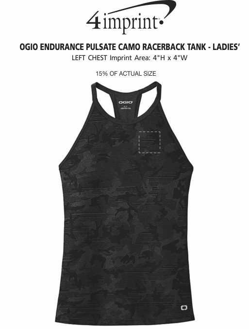 Imprint Area of OGIO Endurance Pulsate Camo Racerback Tank - Ladies'