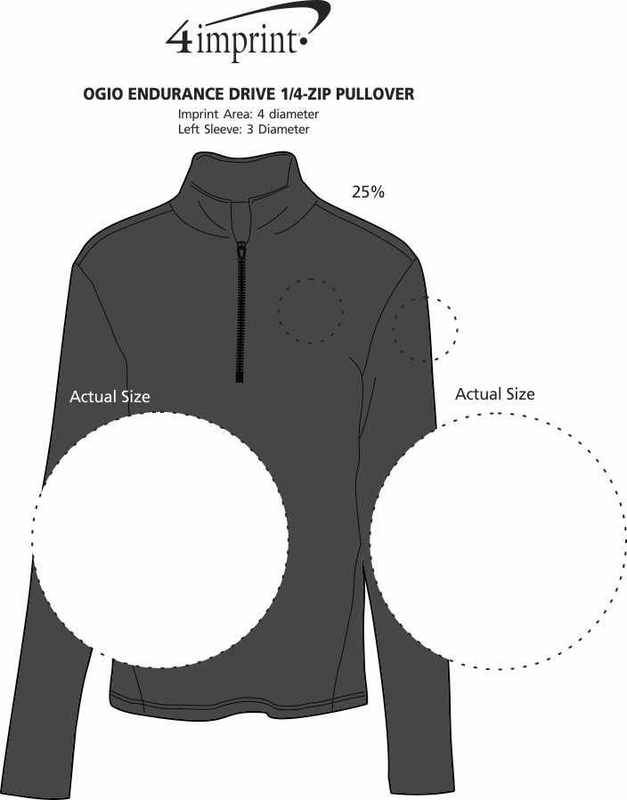 Imprint Area of OGIO Endurance Drive 1/4-Zip Pullover