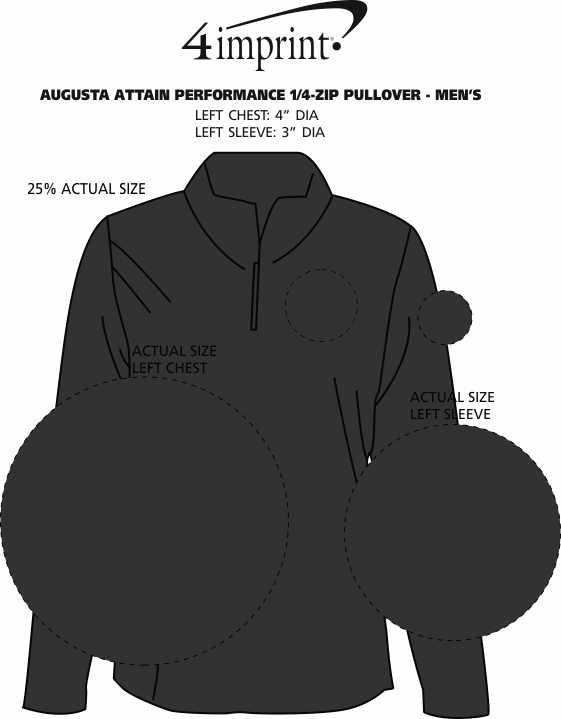 Imprint Area of Augusta Attain Performance 1/4-Zip Pullover - Men's