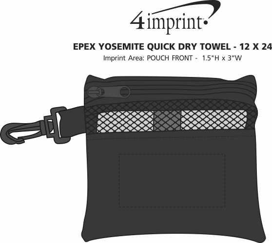 """Imprint Area of EPEX Yosemite Quick Dry Towel - 12"""" x 24"""""""