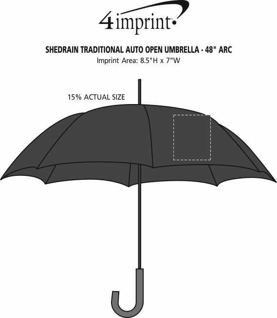 "Imprint Area of ShedRain Traditional Auto Open Umbrella - 48"" Arc"