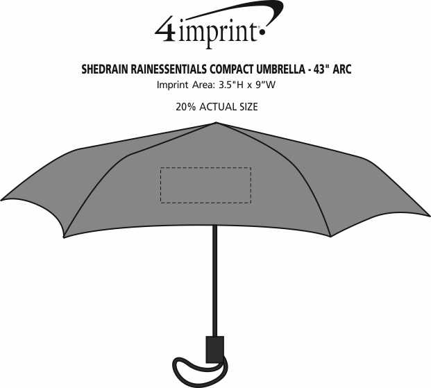"""Imprint Area of ShedRain RainEssentials Compact Umbrella - 43"""" Arc"""