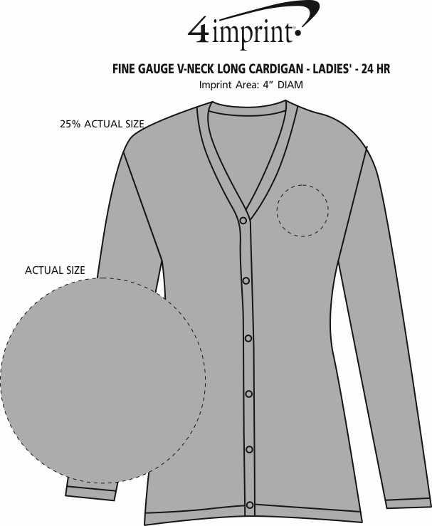Imprint Area of Fine Gauge V-Neck Long Cardigan - Ladies' - 24 hr