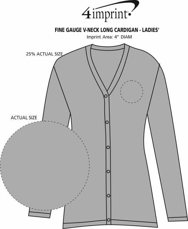 Imprint Area of Fine Gauge V-Neck Long Cardigan - Ladies'