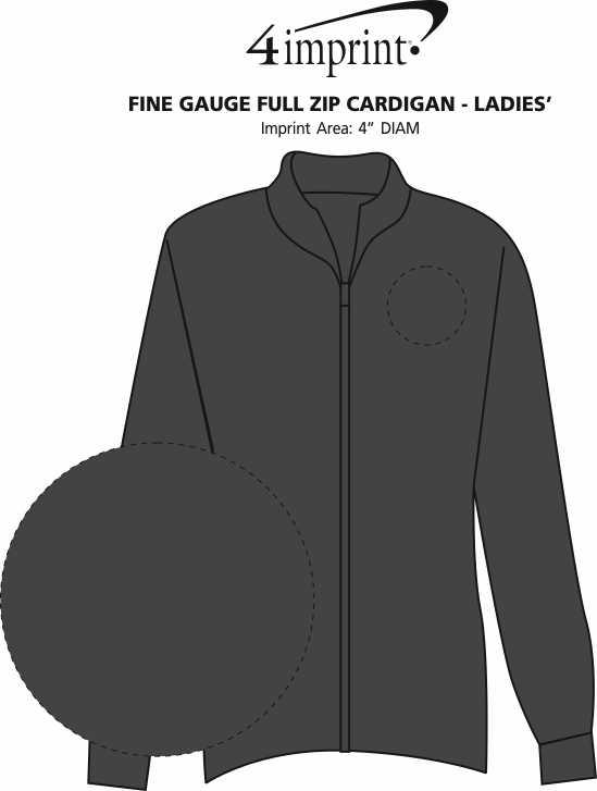 Imprint Area of Fine Gauge Full-Zip Cardigan - Ladies'