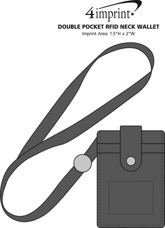 Imprint Area of Double Pocket RFID Neck Wallet