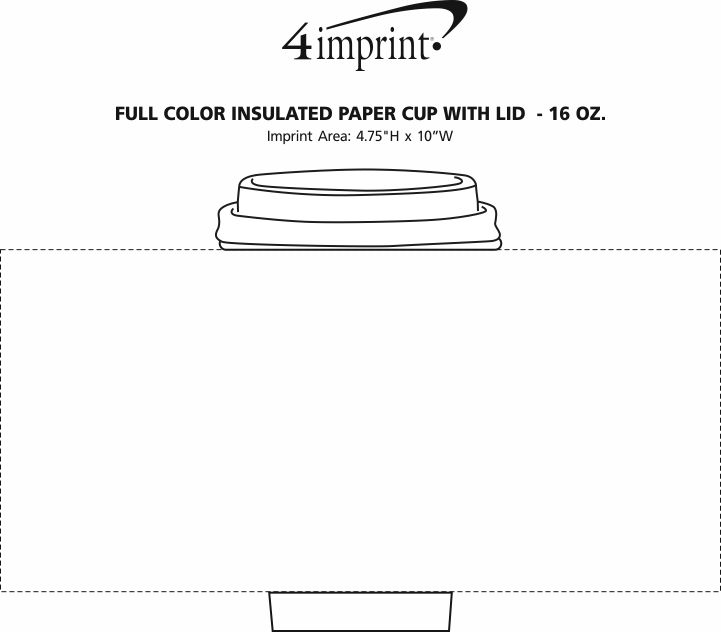 Imprint Area of Full Color Insulated Paper Cup with Lid - 16 oz.