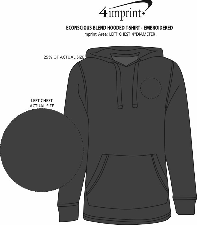 Imprint Area of Econscious Blend Hooded T-Shirt - Embroidered