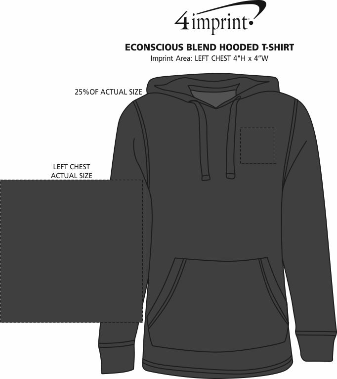Imprint Area of Econscious Blend Hooded T-Shirt