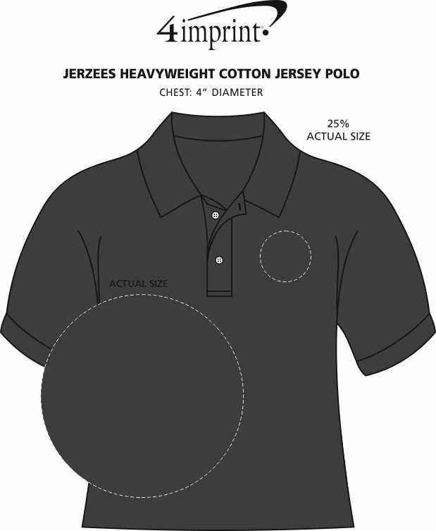 Imprint Area of Jerzees Heavyweight Cotton Jersey Polo