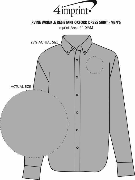 Imprint Area of Irvine Wrinkle Resistant Oxford Dress Shirt - Men's
