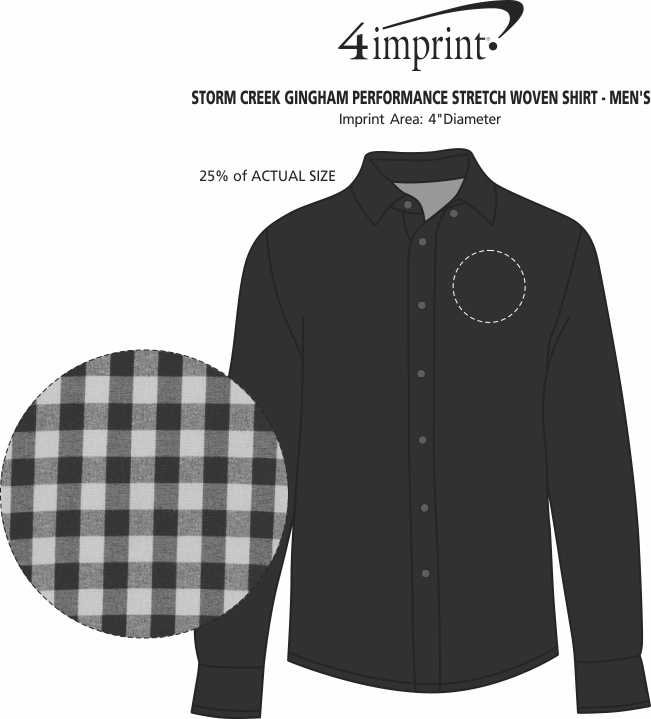 Imprint Area of Storm Creek Gingham Performance Stretch Woven Shirt - Men's