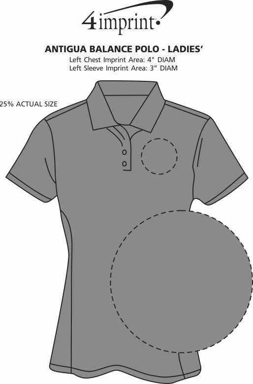Imprint Area of Antigua Balance Polo - Ladies'
